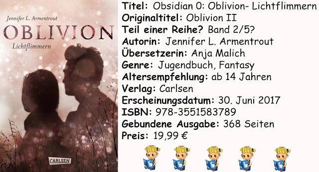 "[Rezension]""Obsidian 0: Oblivion- Lichtflimmern"" von Jennifer L. Armentrout"