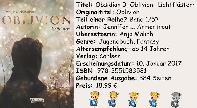 "[Rezension] ""Obsidian 0: Oblivion- Lichtflüstern"" von Jennifer L. Armentrout"