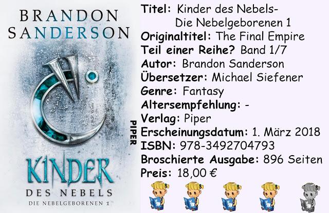 """[Rezension] """"Kinder des Nebels- Die Nebelgeborenen 1"""" von Brandon Sanderson"""