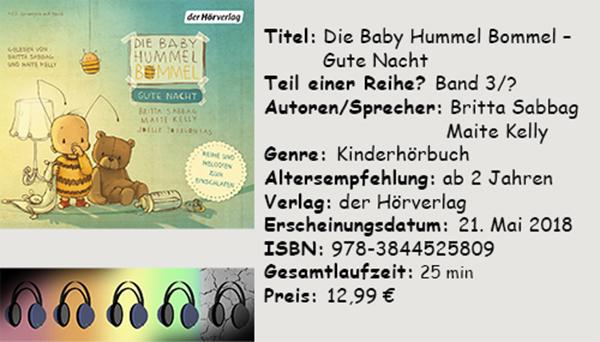 """[Hörbuch-Rezension]  Die Baby Hummel Bommel– Gute Nacht"""" von Britta Sabbag, Maite Kelly"""